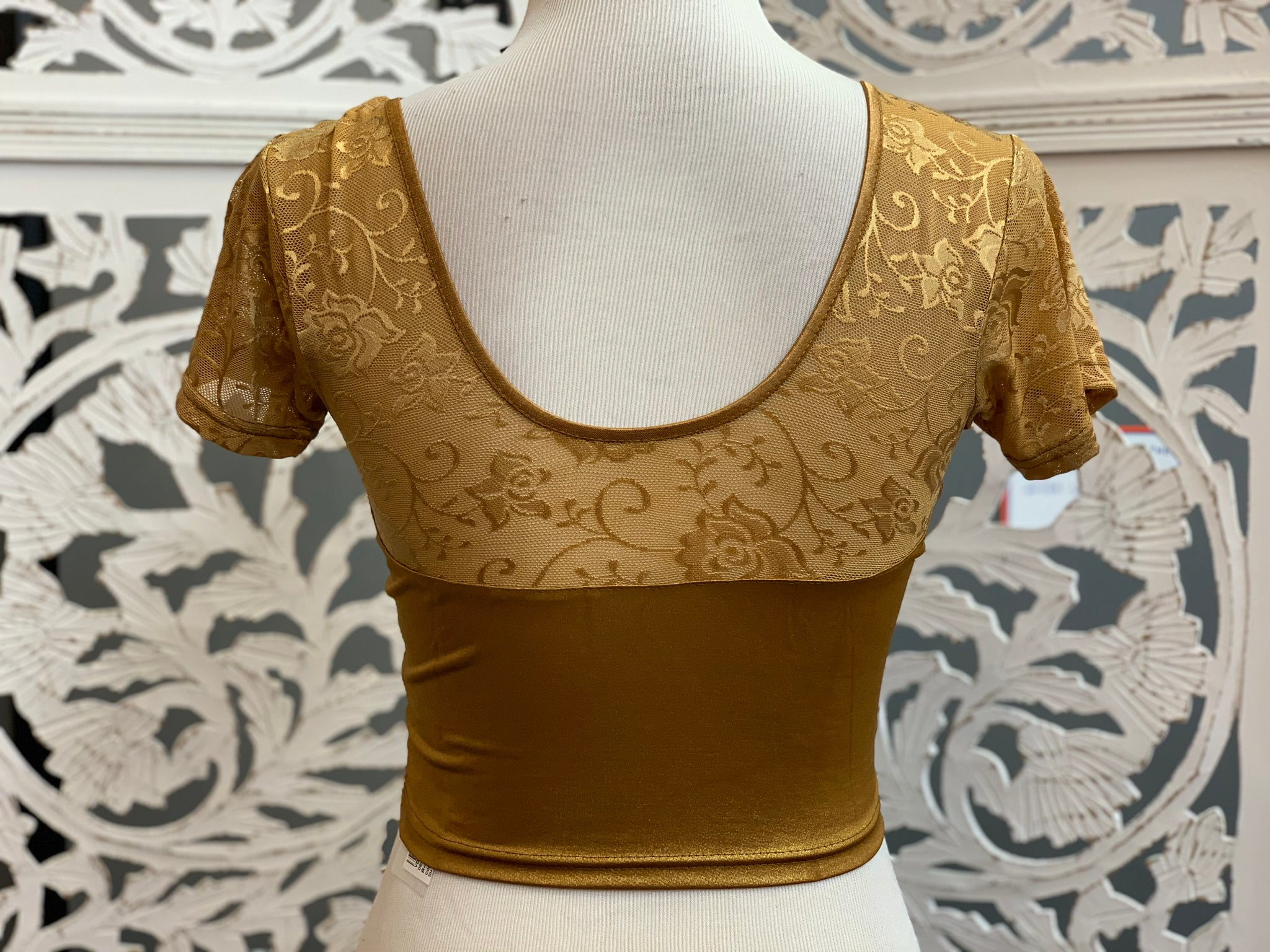 Dark Gold Shimmer Stretchable Blouse