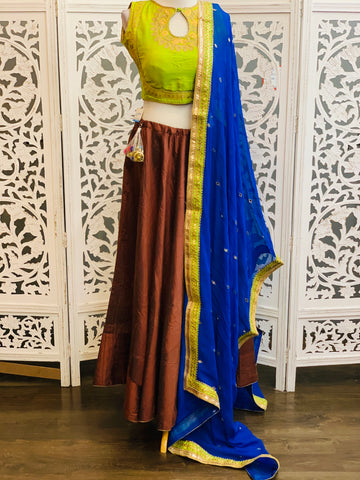 Green and Brown Lehenga Choli