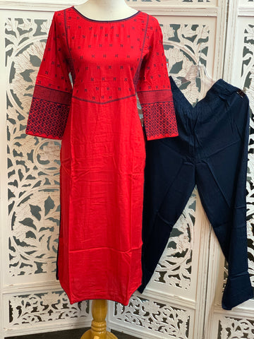Red and Navy Blue Palazzo Suit