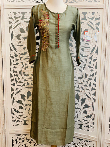 Dark Tan and Red Kurti