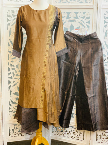 Brown and Grey Palazzo Suit