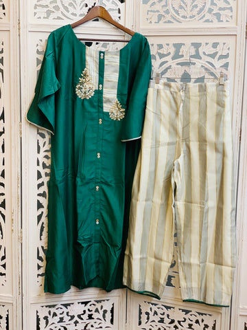Green and White Palazzo Suit