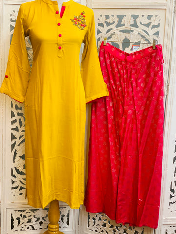 Yellow and Pink Palazzo Suit