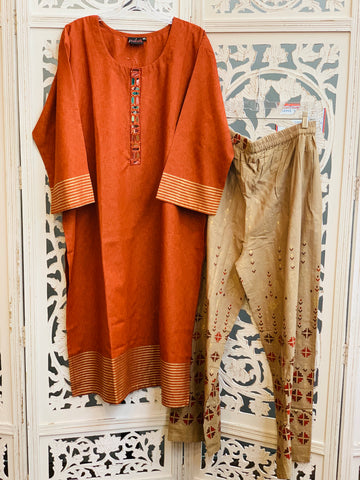 Rust and Brown Kurti