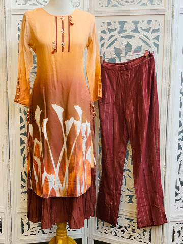 Peach and Maroon Palazzo Suit