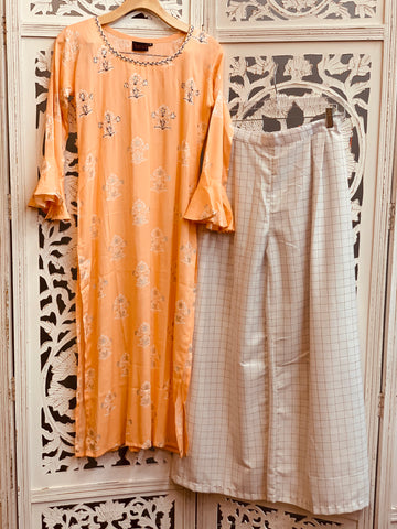 Peach and White Palazzo Suit