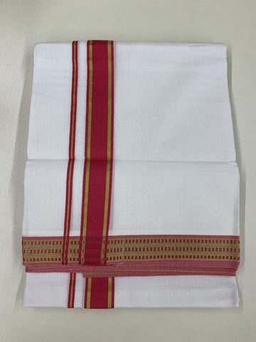 White and Pink Traditional Dhoti