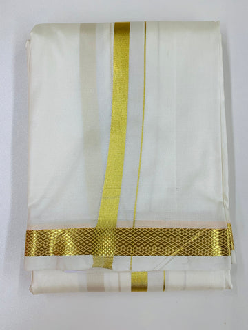 Cream and Gold Traditional Dhoti