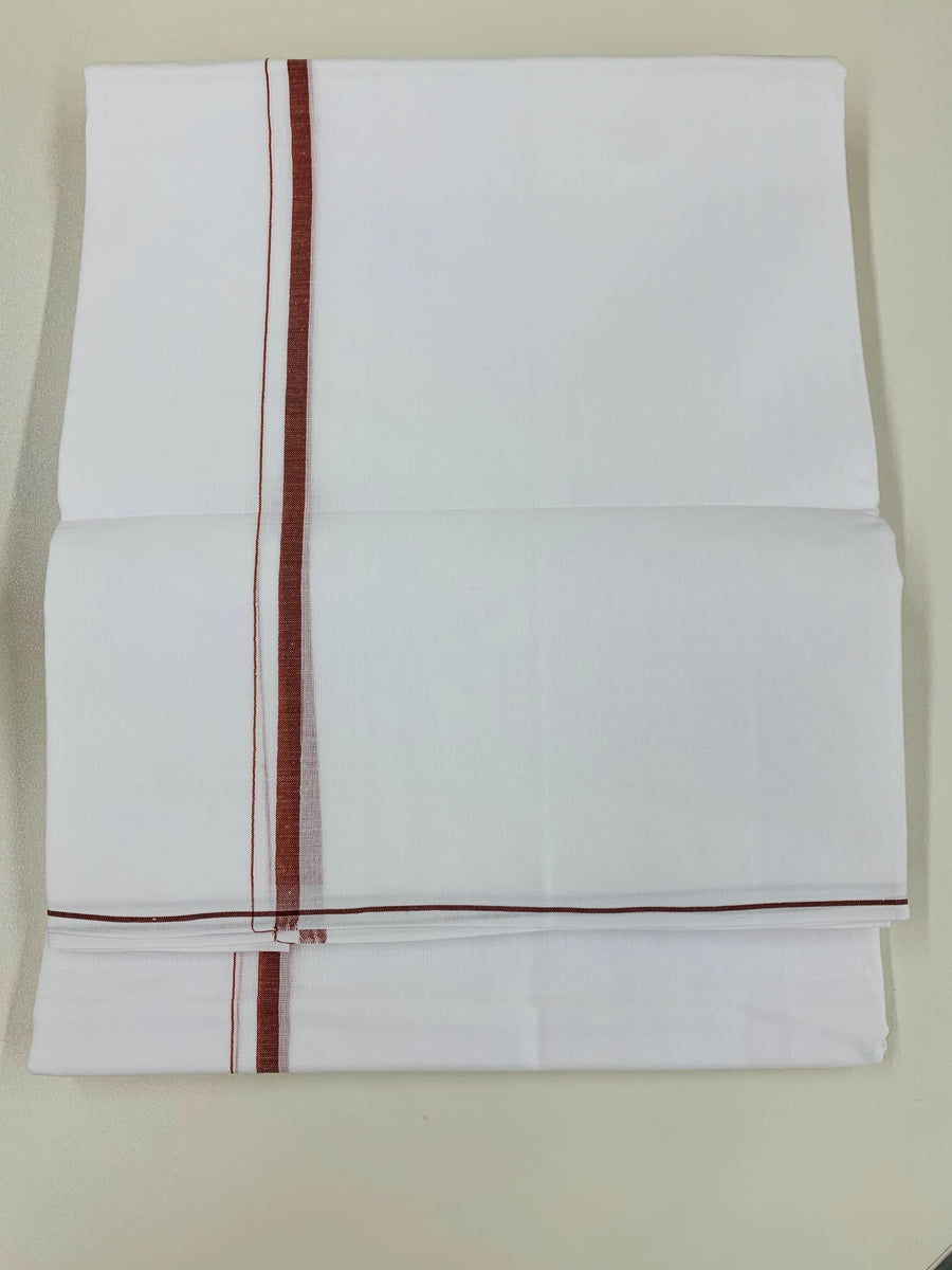 White and Maroon Traditional Dhoti