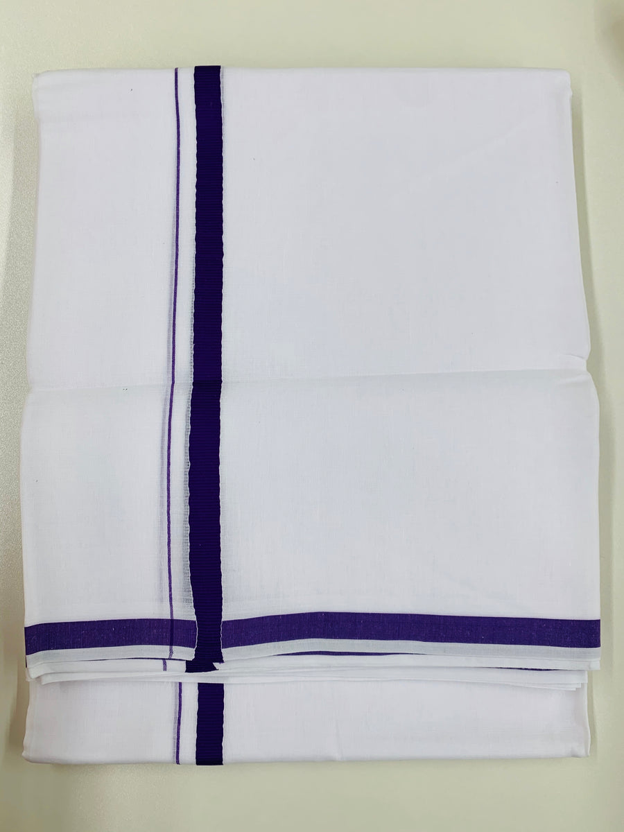 White and Purple Traditional Dhoti