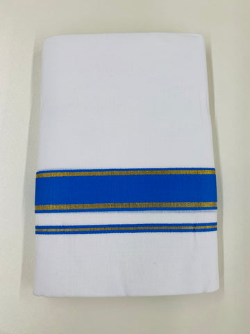 White and Blue Traditional Dhoti