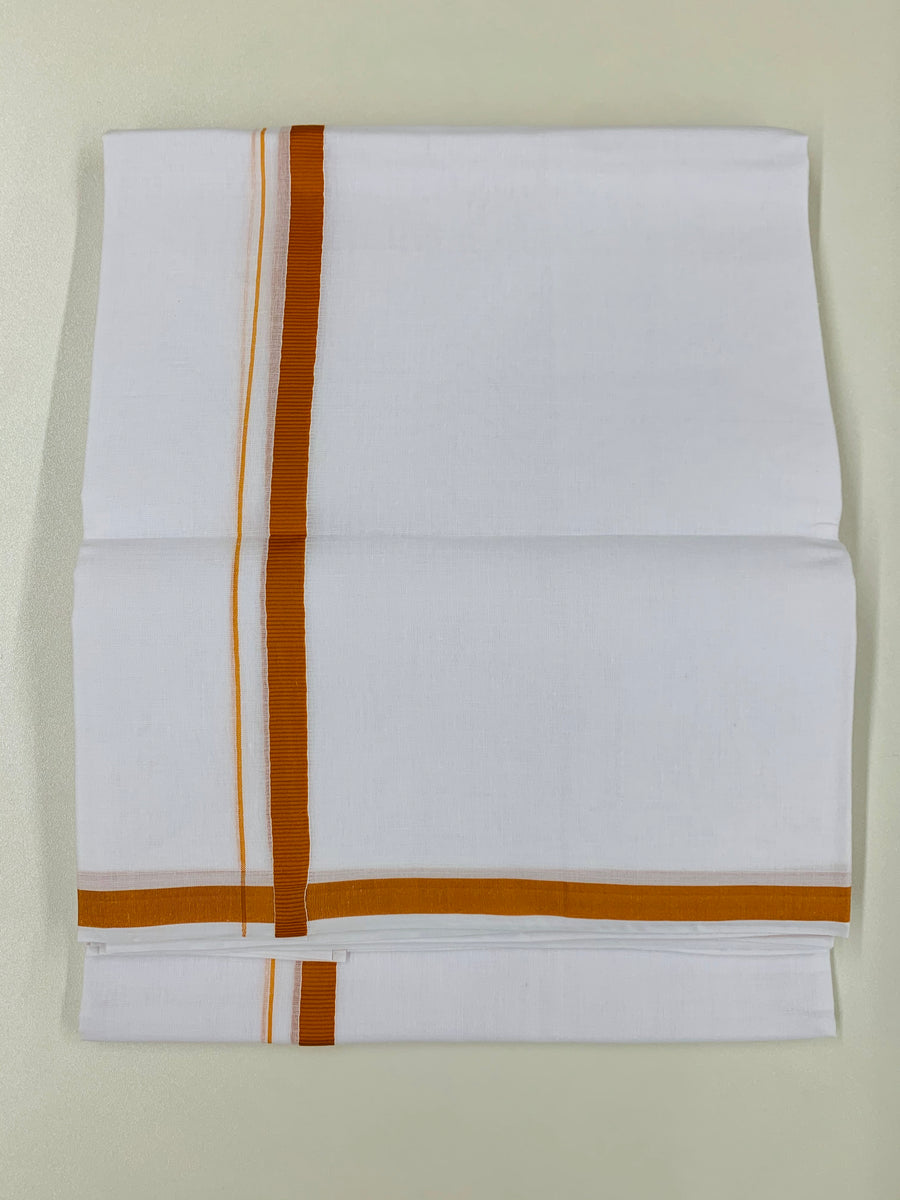 White and Orange Traditional Dhoti