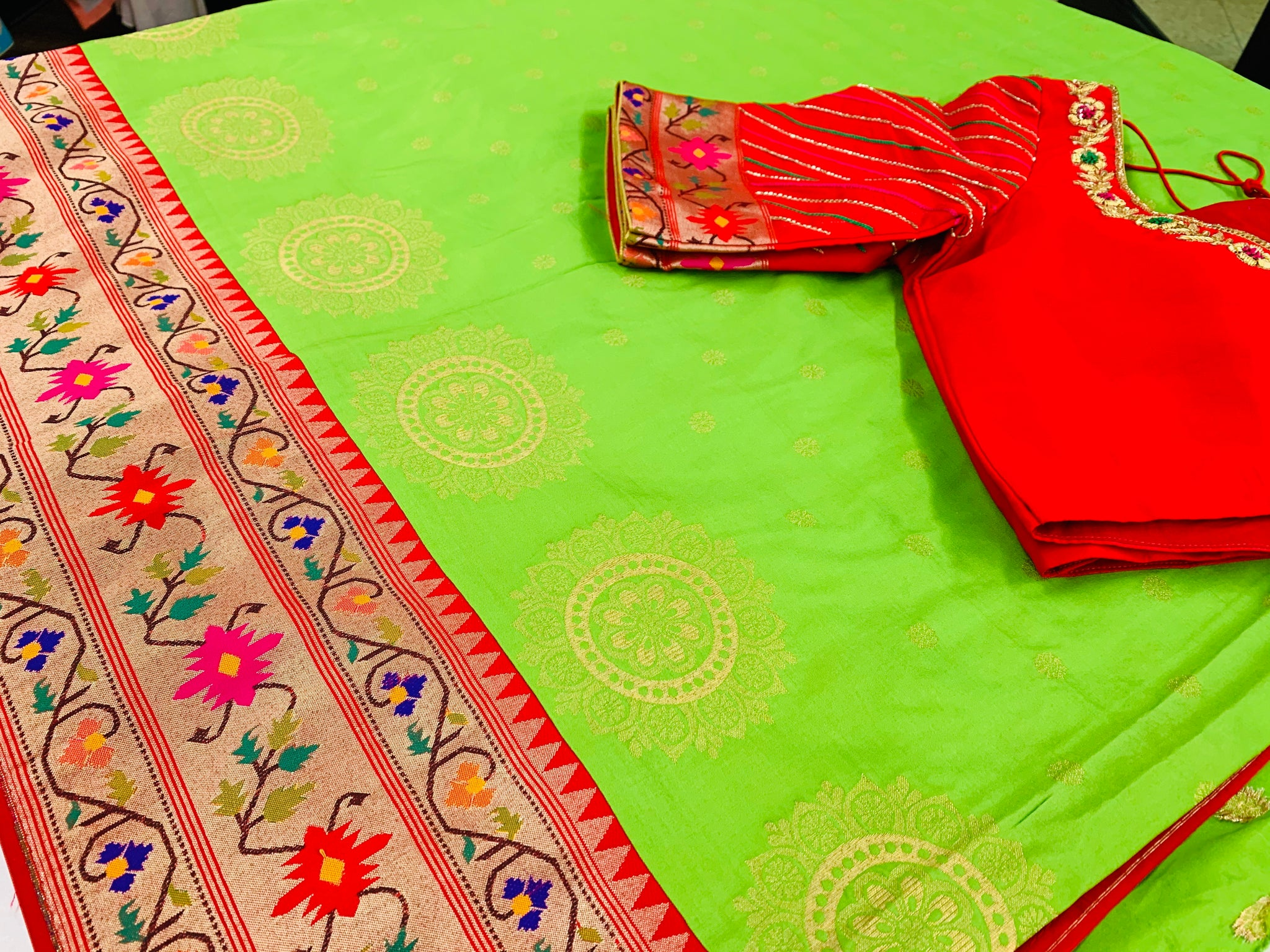 Green and Red Banaras Paithani Saree