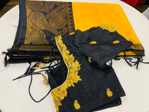 Yellow and Black Gadwal Saree