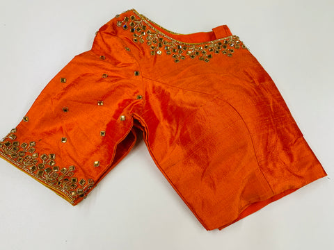 Orange Embroidered Customized Blouse