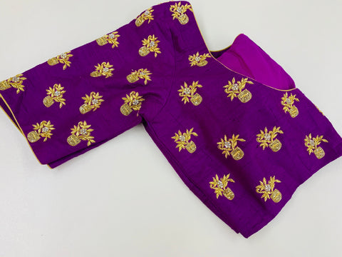 Purple Embroidered Customized Blouse