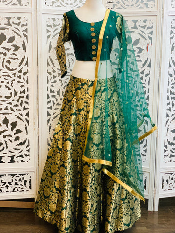 Green and Gold Lehenga Choli