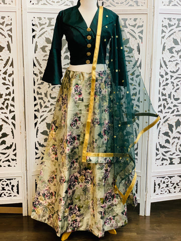 Green and Pastel Green Lehenga Choli