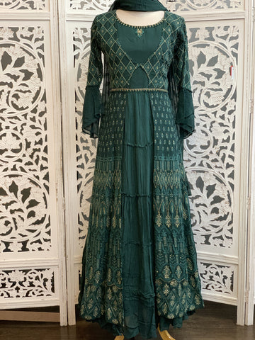 Green Chikankari Anarkali Suit