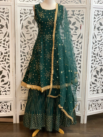 Green and Gold Lehenga Suit