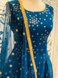 Blue and Gold Lehenga Suit