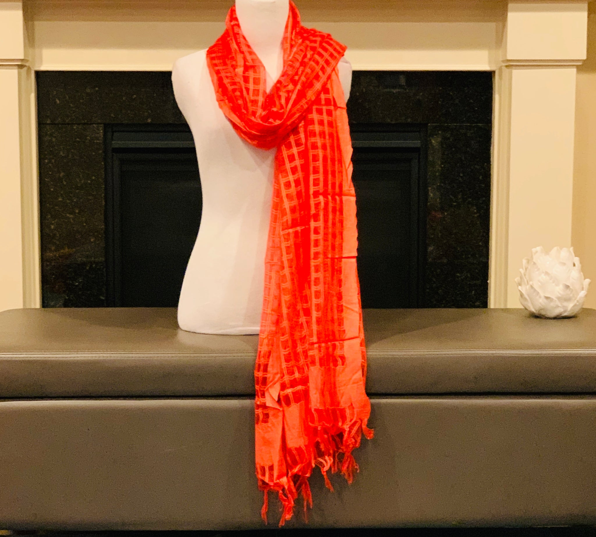 Orange Jute Silk Dupatta/Scarf