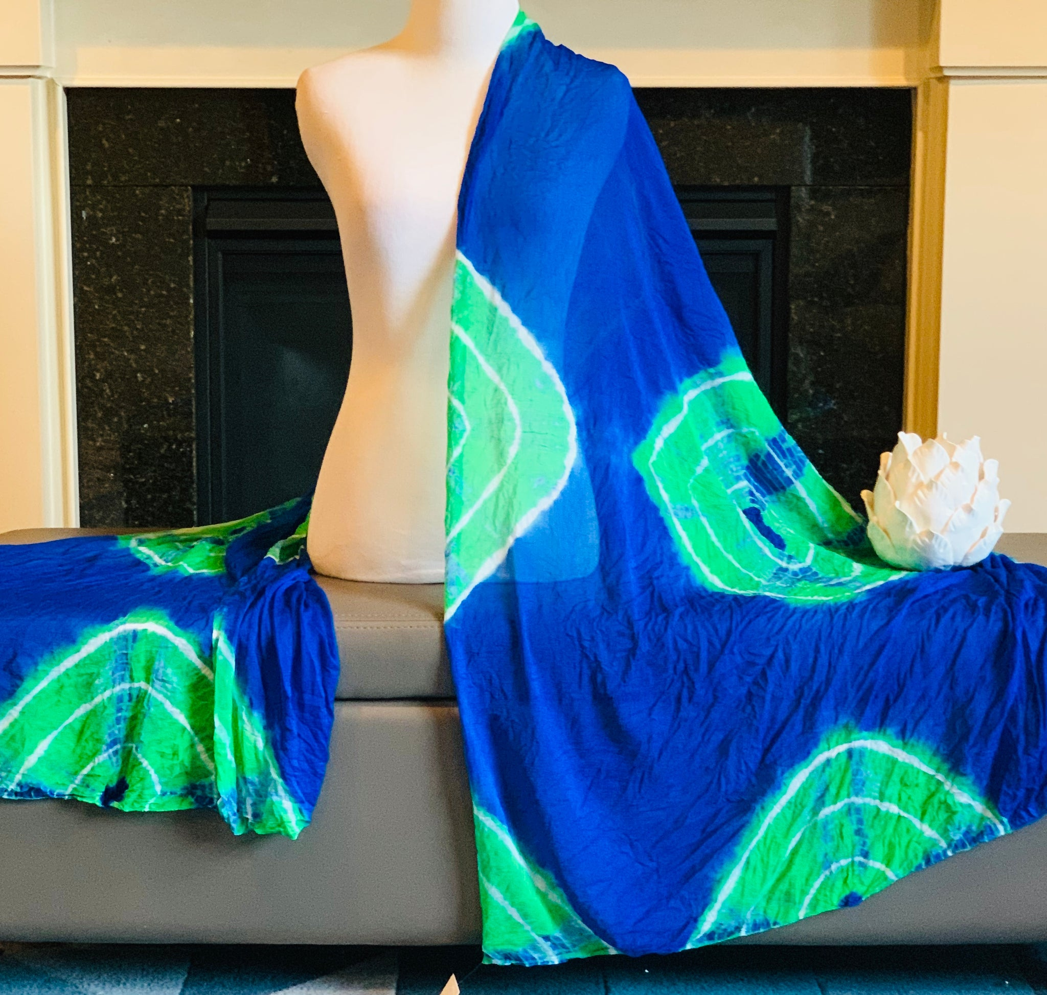 Blue and Green Tie and Dye Dupatta/Scarf