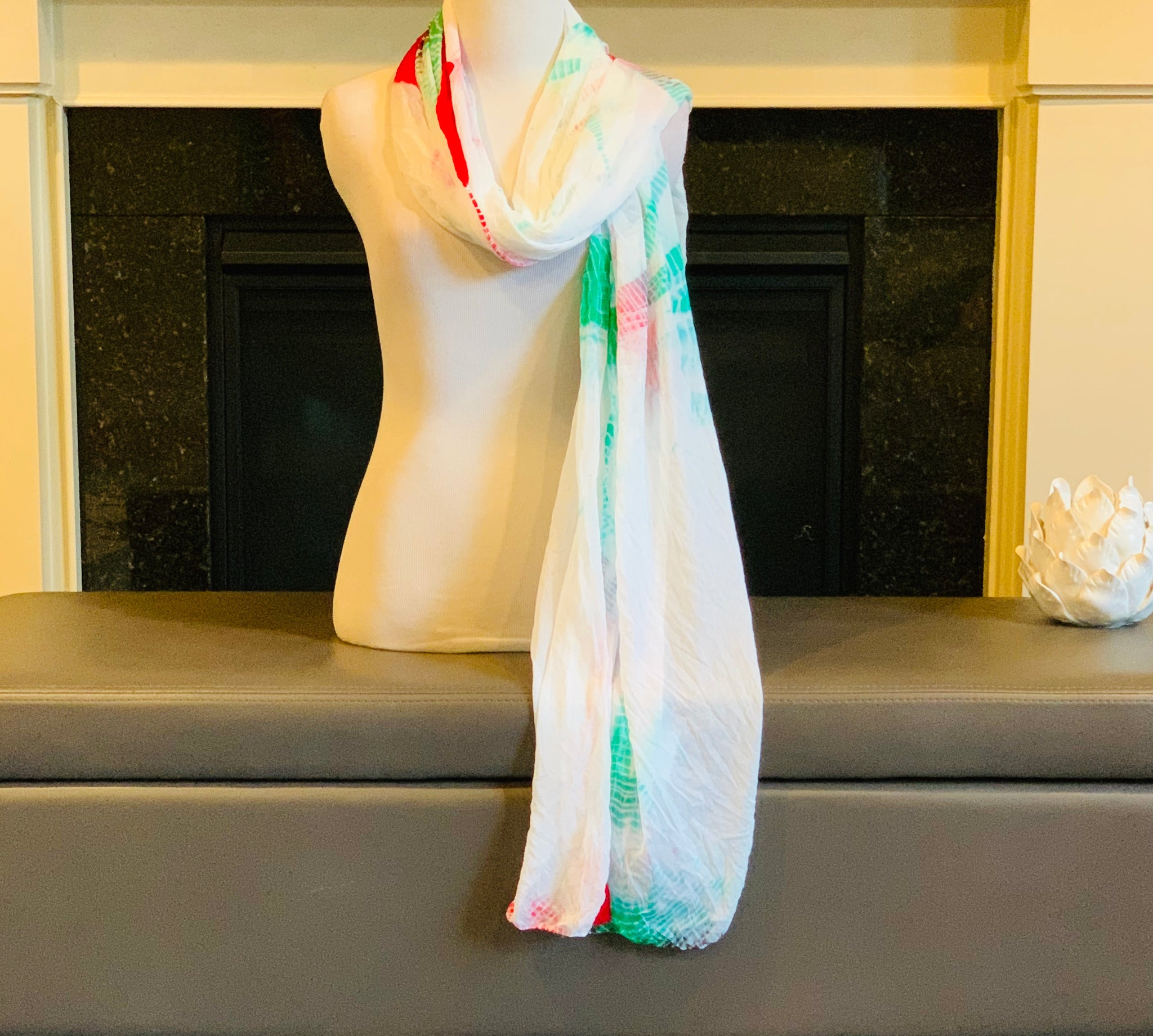 White Green and Red Tie and Dye Dupatta/Scarf