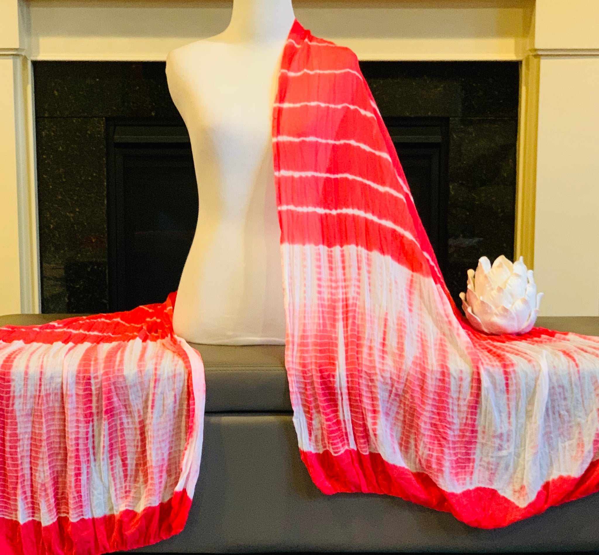 Red and White Tie and Dye Dupatta/Scarf