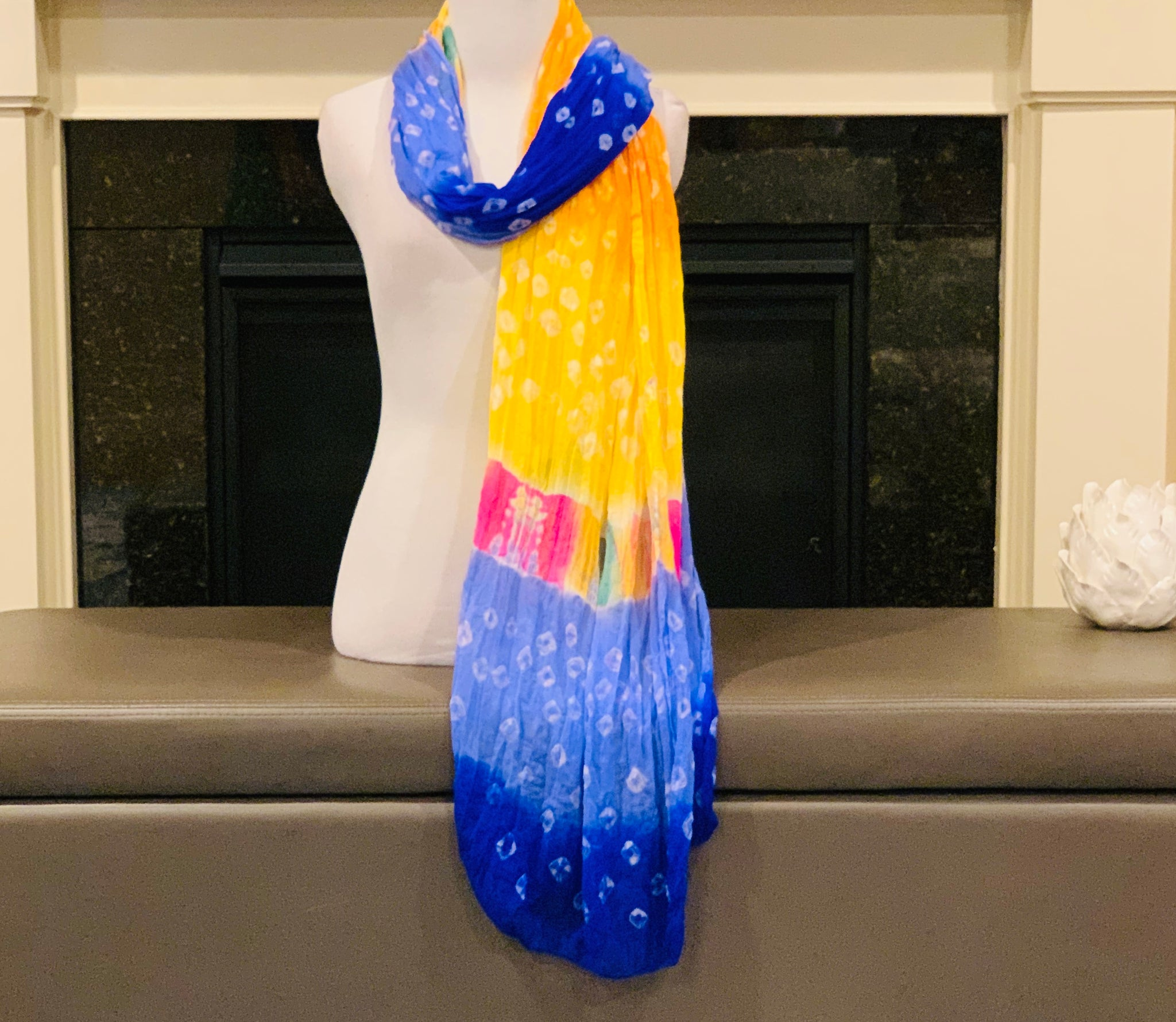 Blue and Yellow Dupatta/Scarf - Sakkhi Style