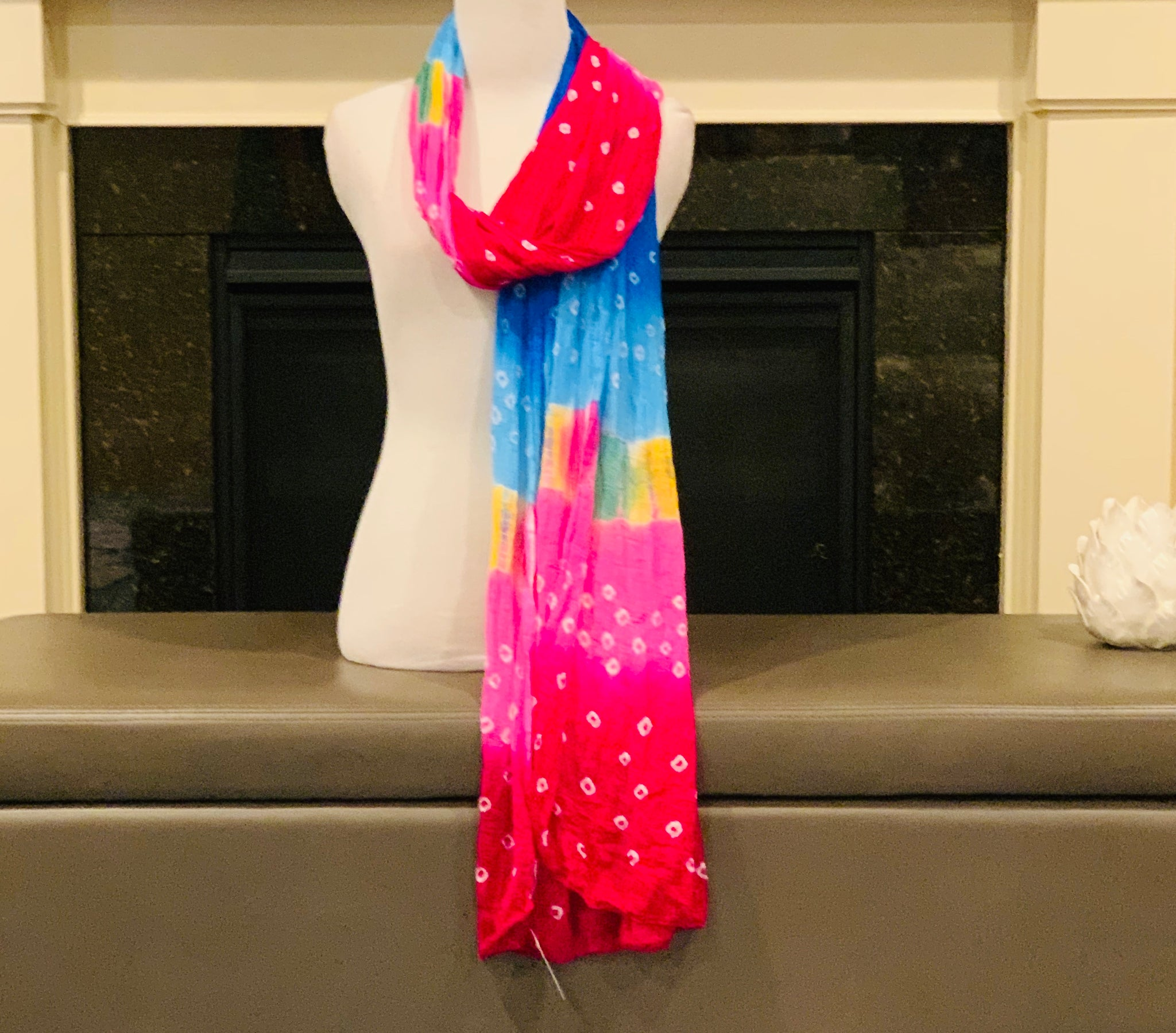 Pink and Blue Dupatta/Scarf