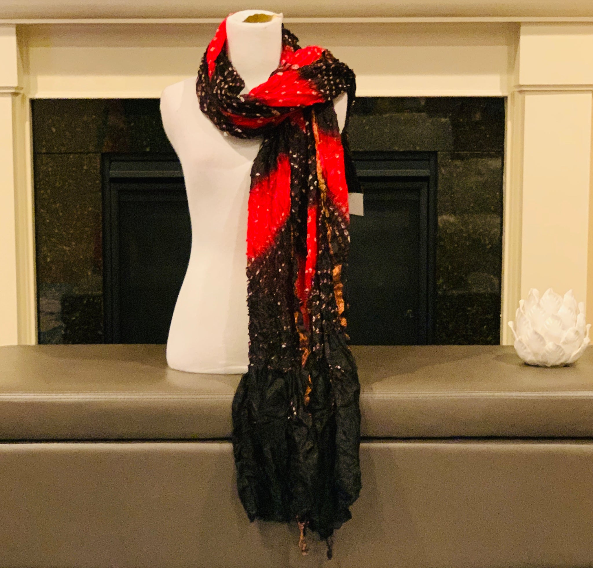 Red and Black Bandhani Dupatta/Scarf