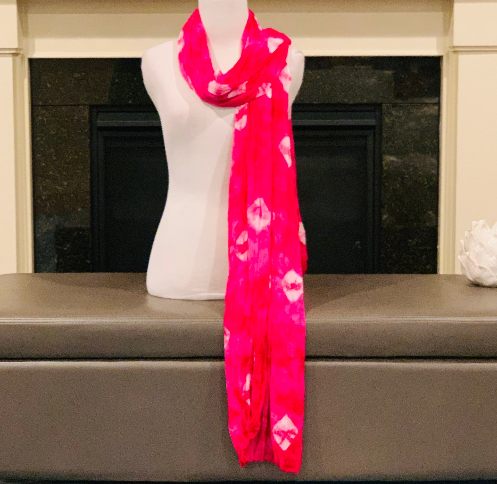 Pink Tie and Dye Dupatta/Scarf