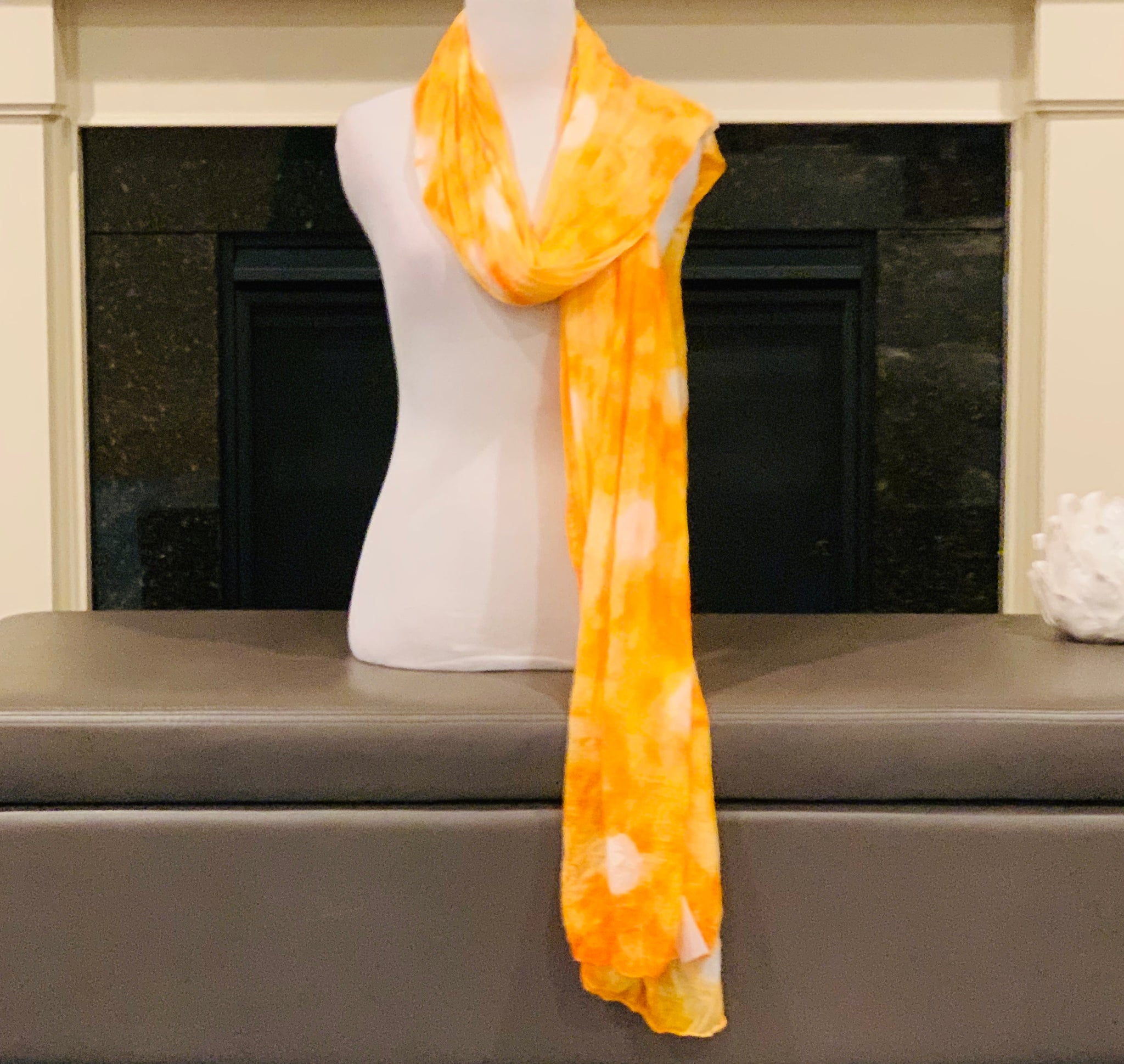 Yellow and Orange Tie and Dye Dupatta/Scarf