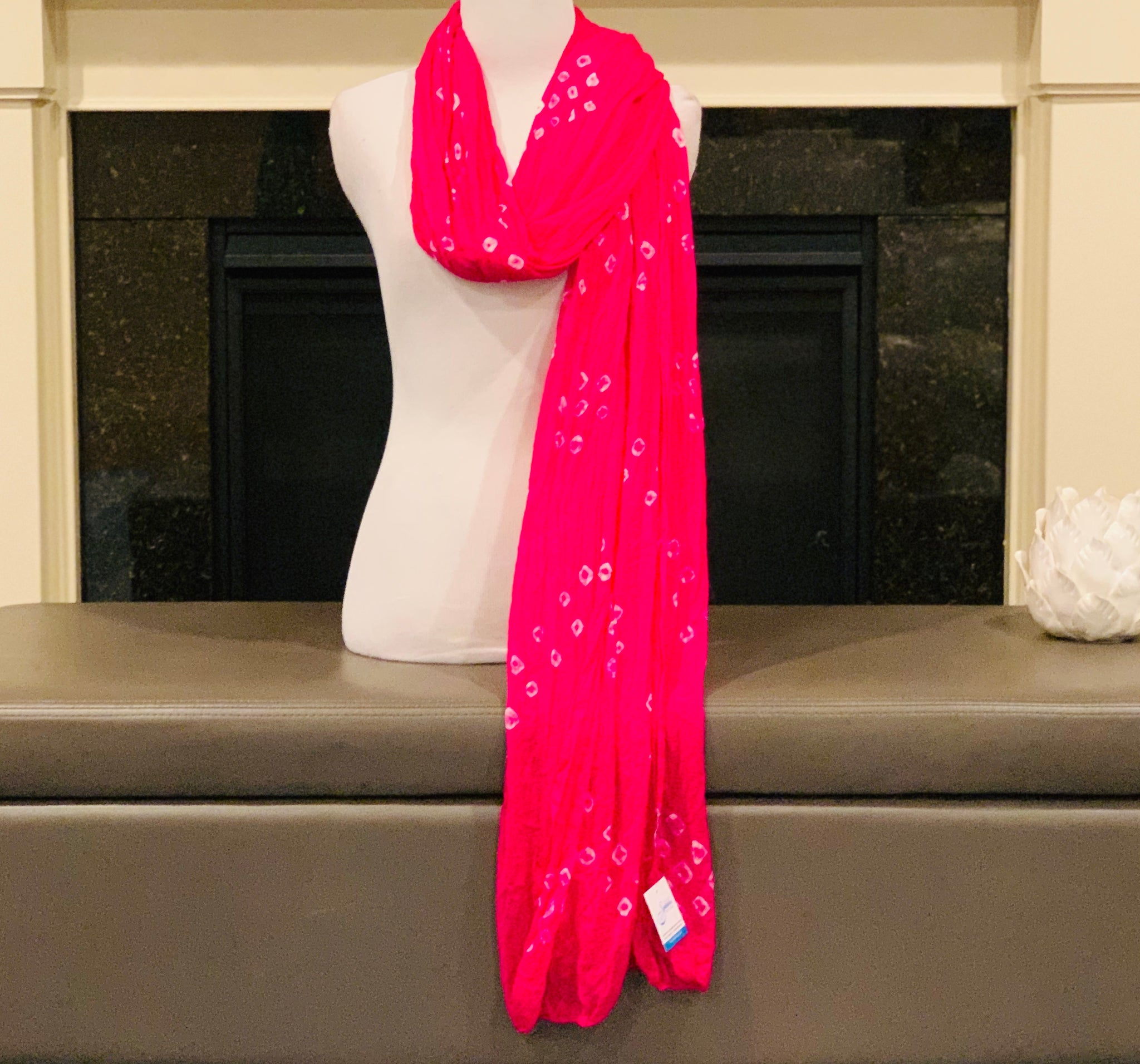 Pink and White Dupatta/Scarf
