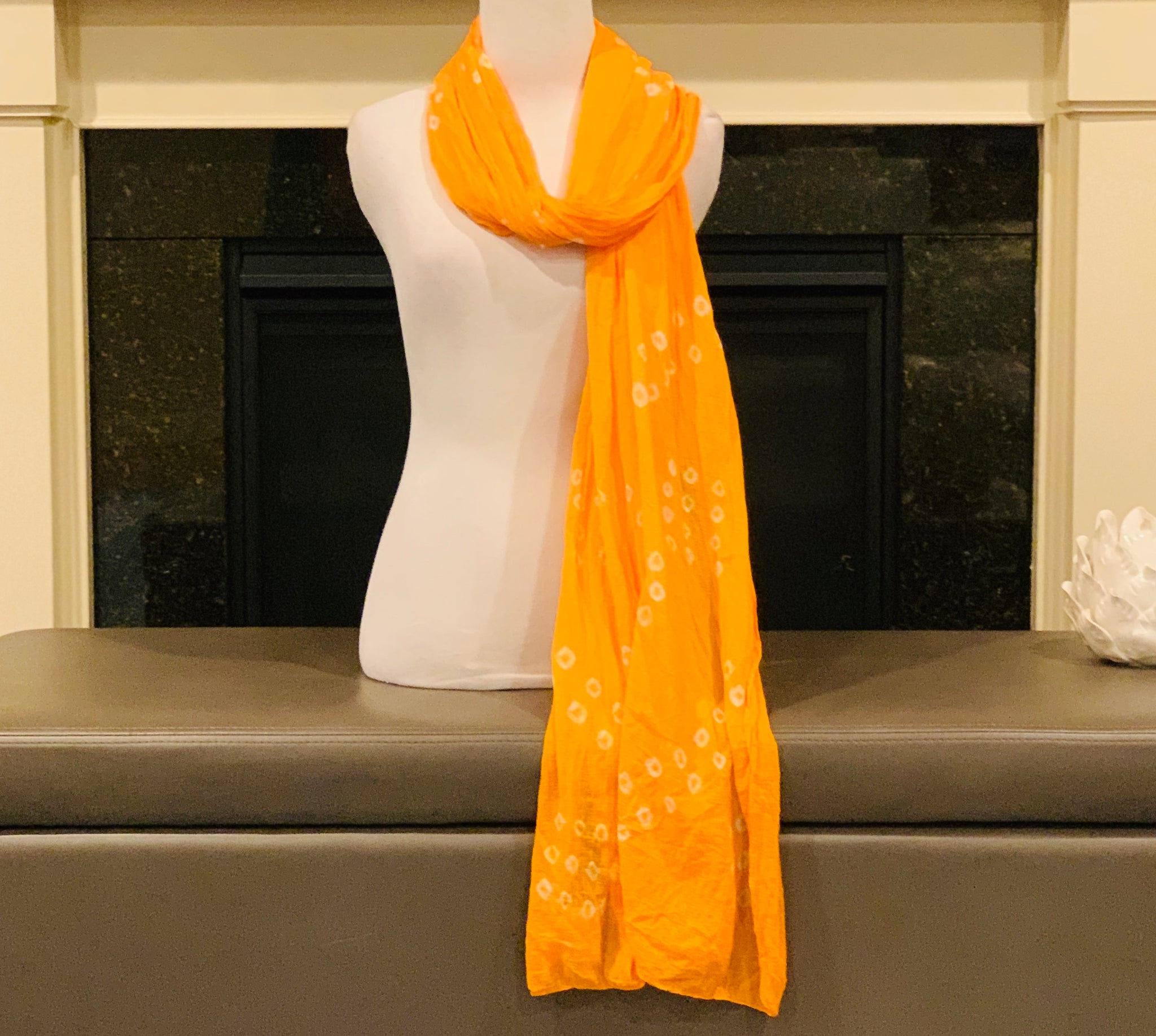Yellow and White Dupatta/Scarf