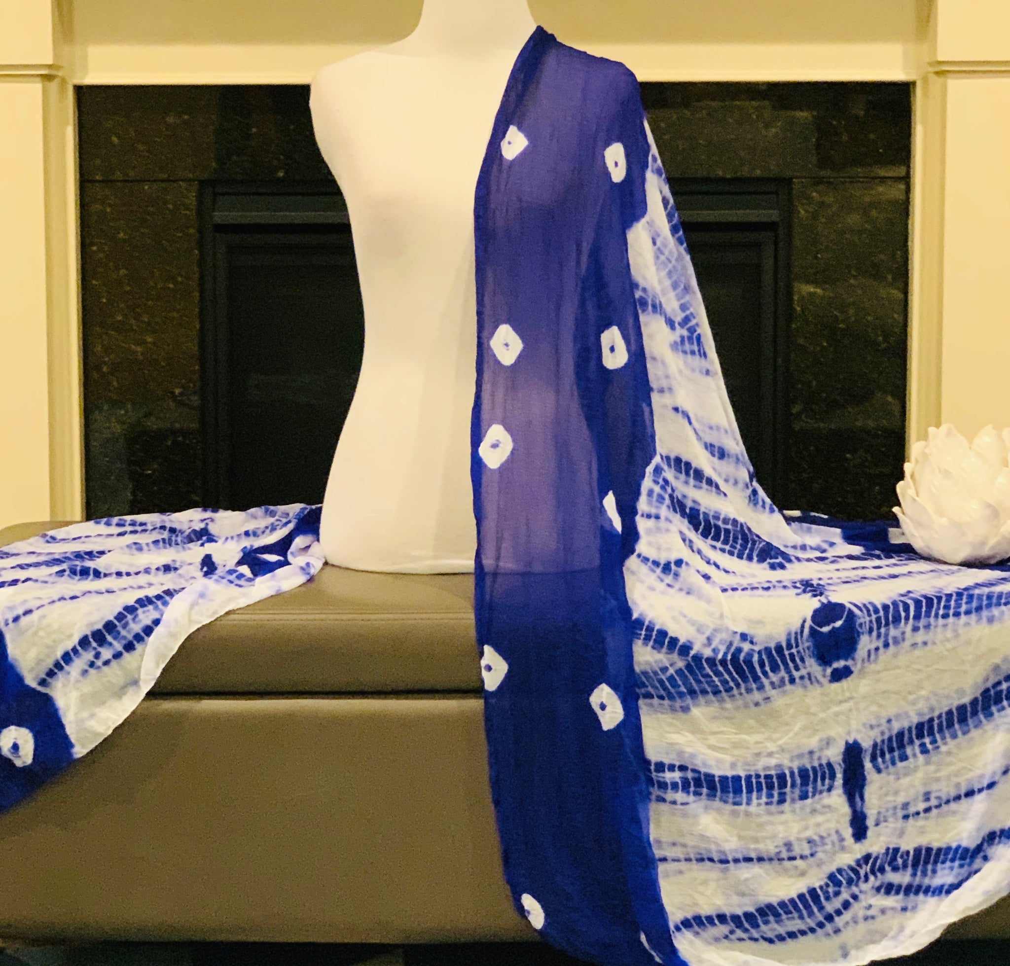 Blue and White Tie and Dye Dupatta/Scarf