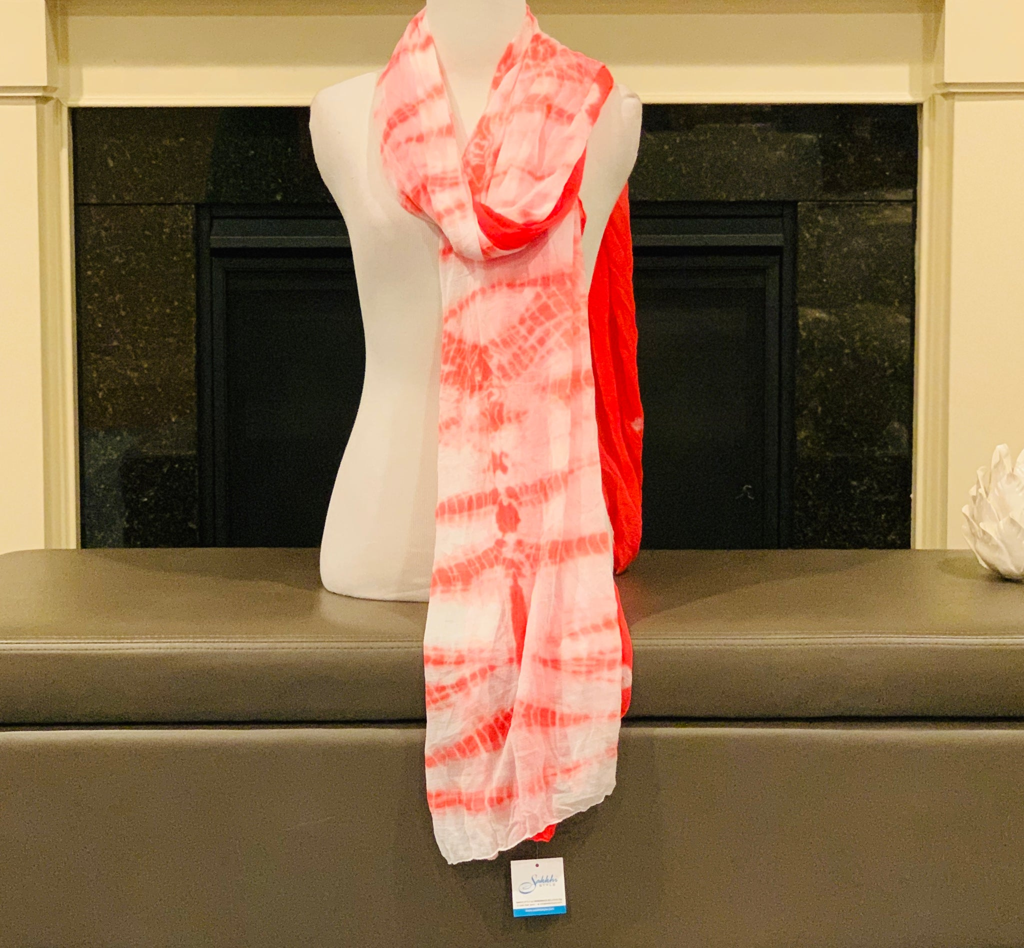 Coral and White Tie and Dye Dupatta/Scarf