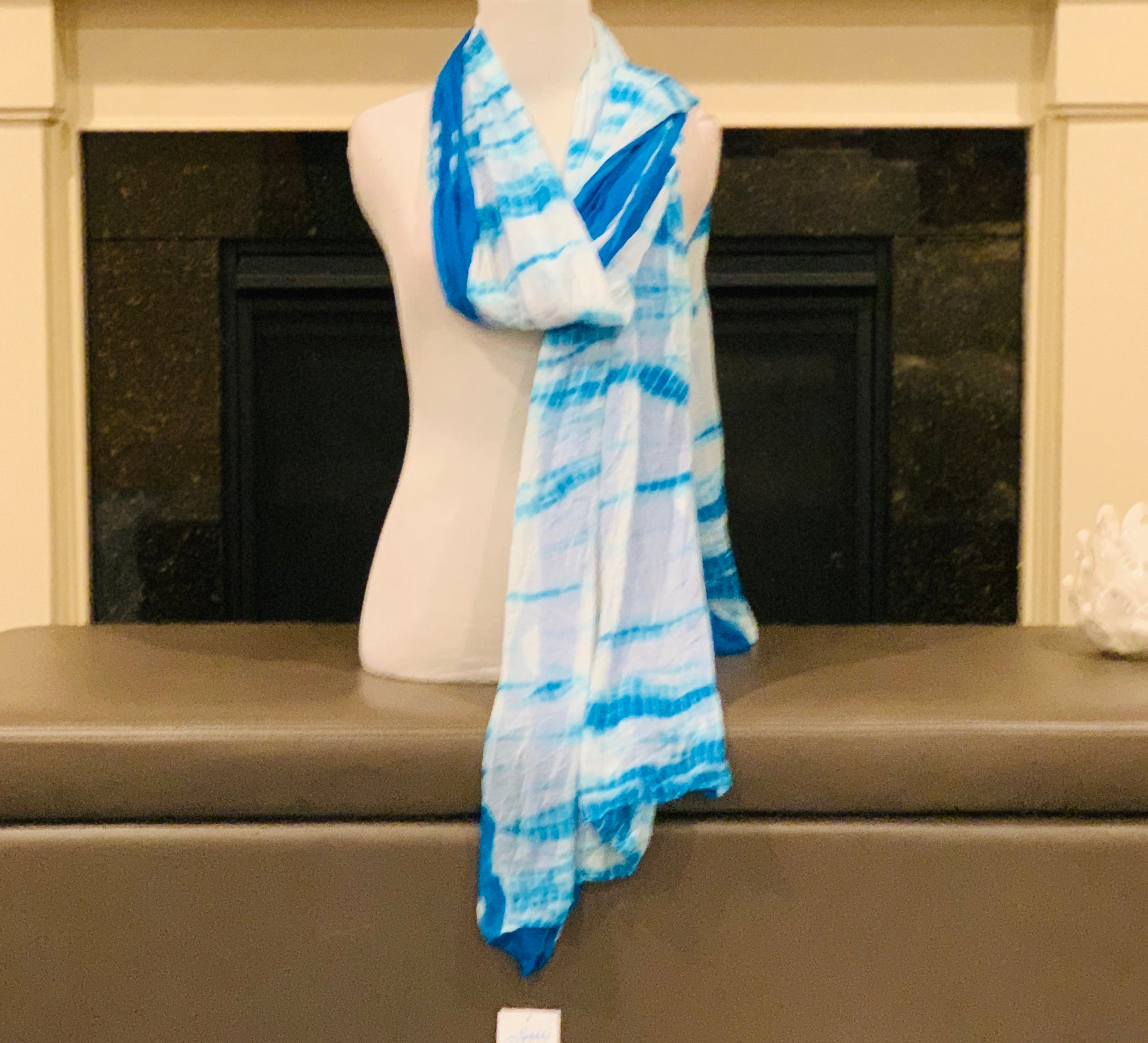 Blue and White Tie and Dye Dupatta/Scarf - Sakkhi Style
