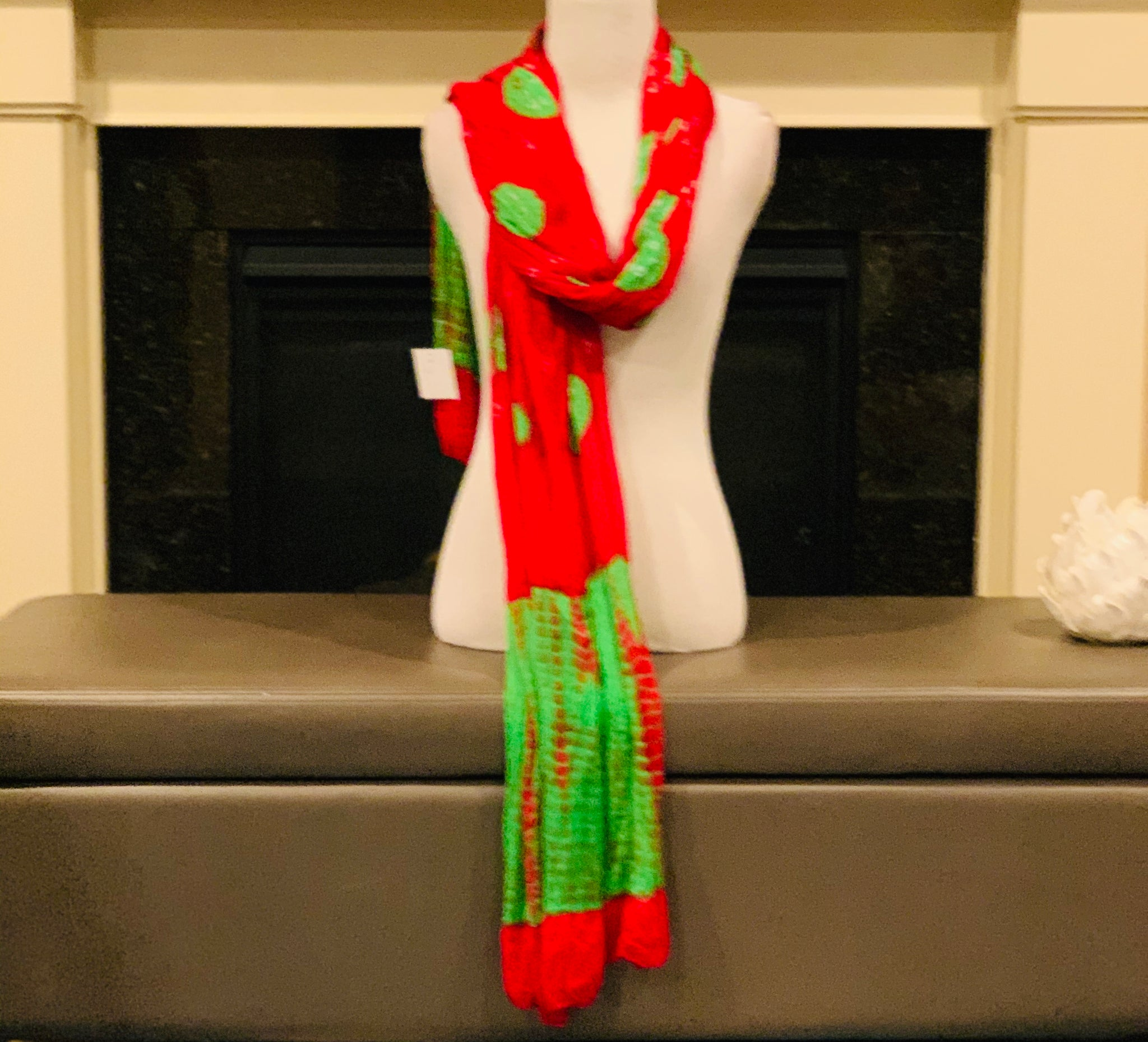 Red and Green Dupatta/Scarf