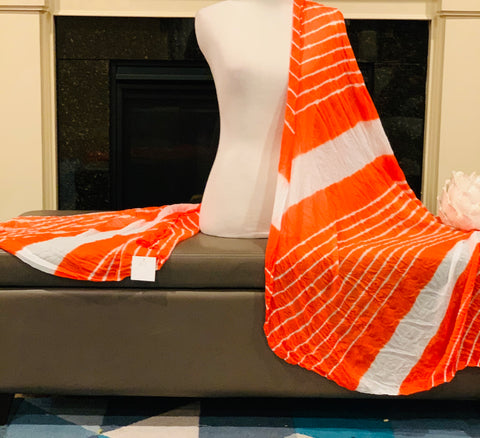 Orange and White Dupatta/Scarf