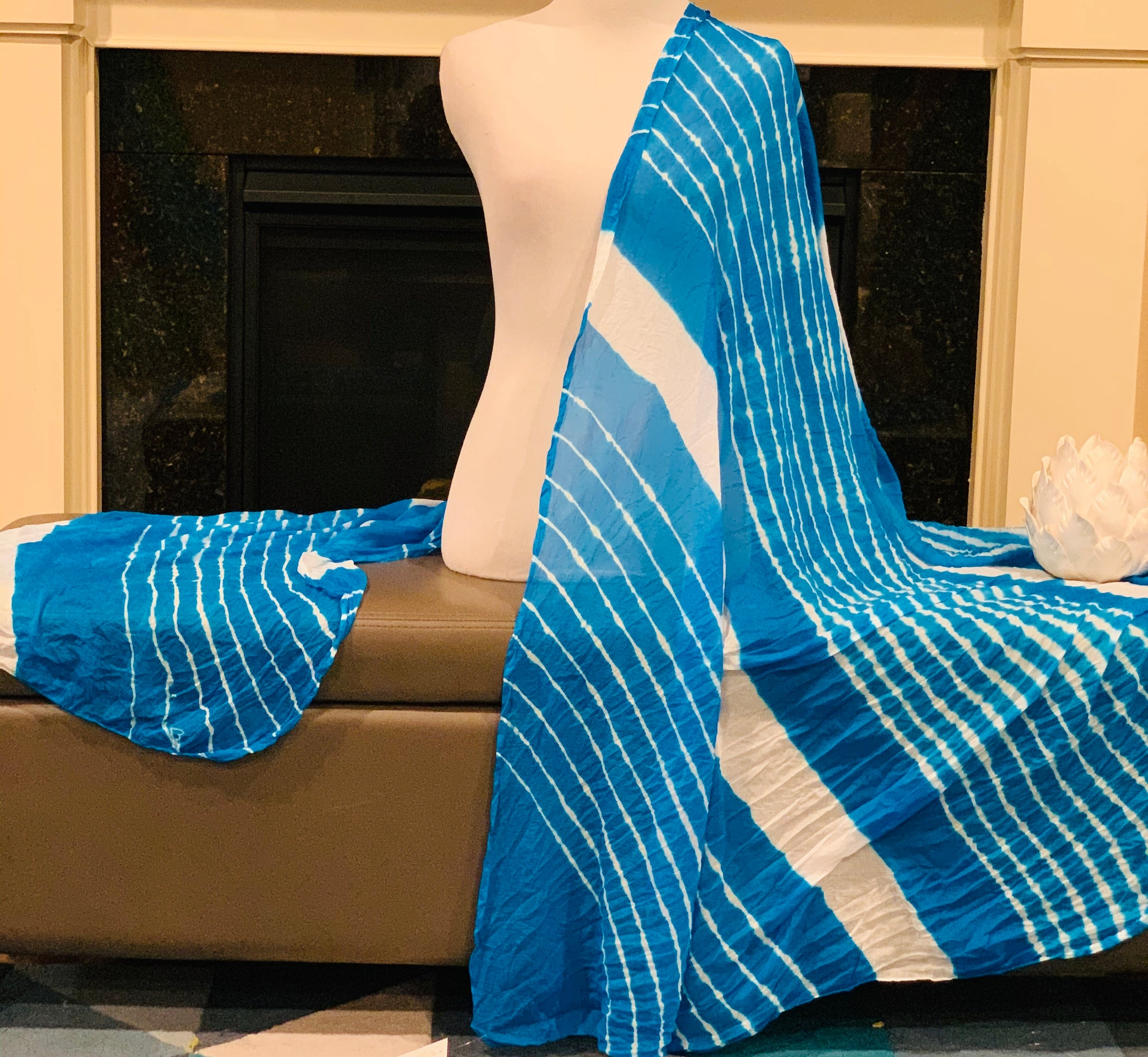 Blue and White Dupatta/Scarf
