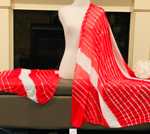 Red and White Dupatta/Scarf