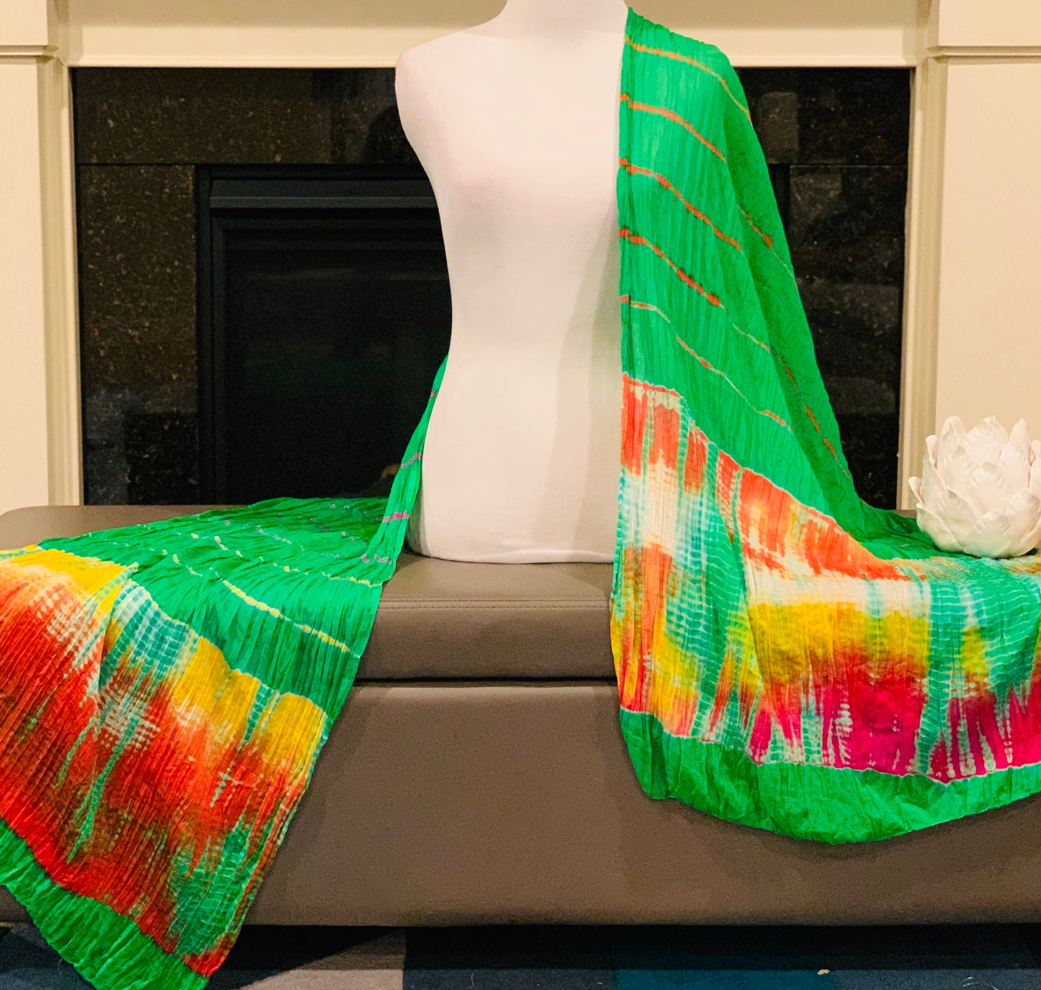 Green Tie and Dye Dupatta/Scarf
