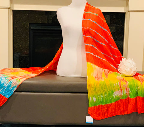 Orange Tie and Dye Dupatta/Scarf