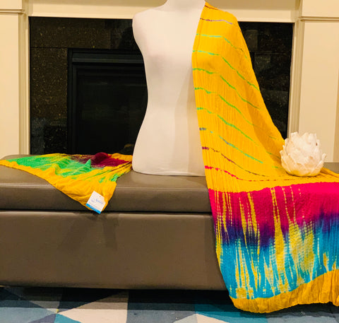 Yellow Tie and Dye Dupatta/Scarf