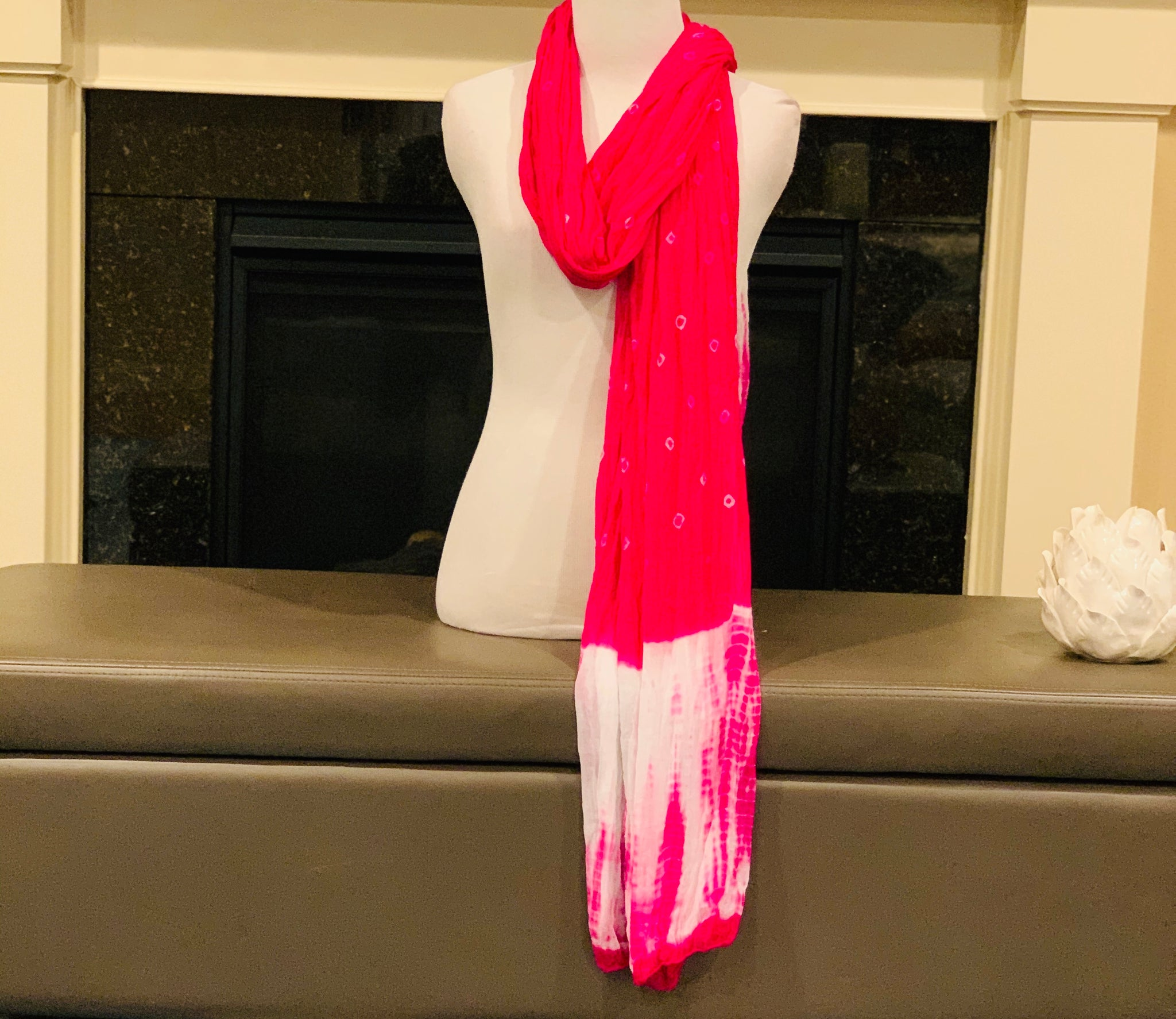 Pink and White Tie and Dye Dupatta/Scarf