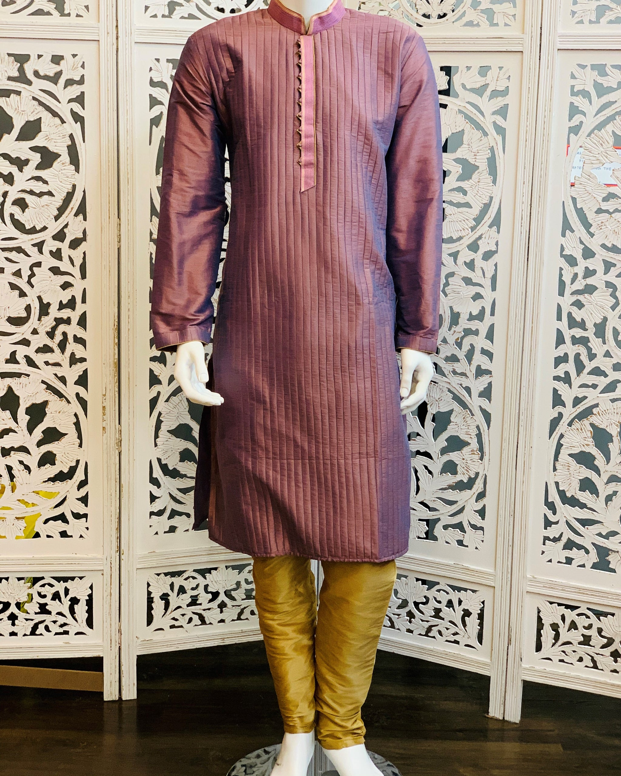 Purple and Dark Gold Kurta Pyjama