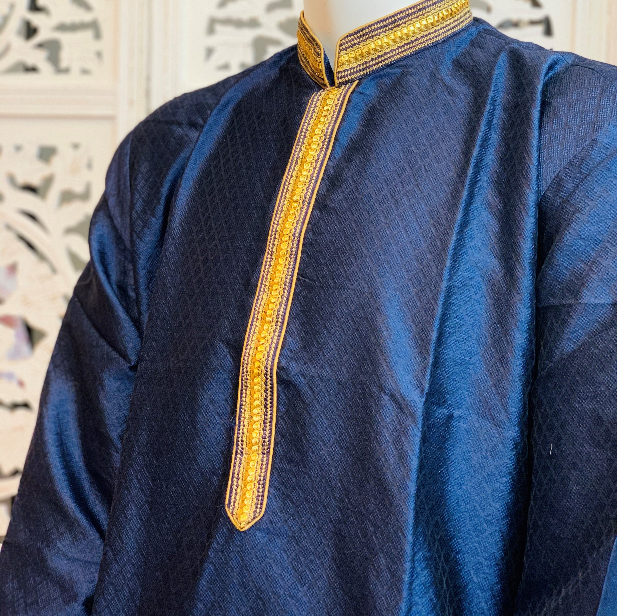 Blue and Gold Kurta Pyjama