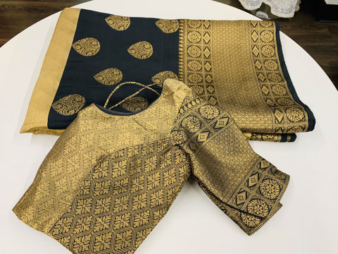 Gold and Black Muslin Silk Saree